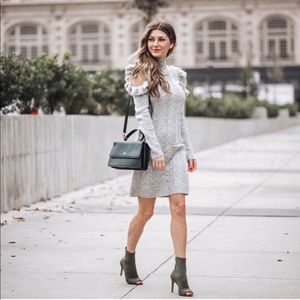 WAYF cold shoulder, cable knit sweater dress